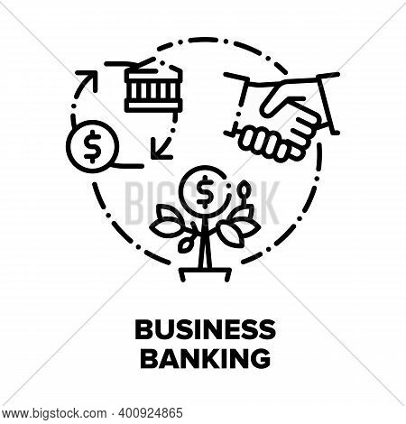 Business Banking Vector Icon Concept. Businessman Bank Client Shaking Hand With Financier Worker, Su