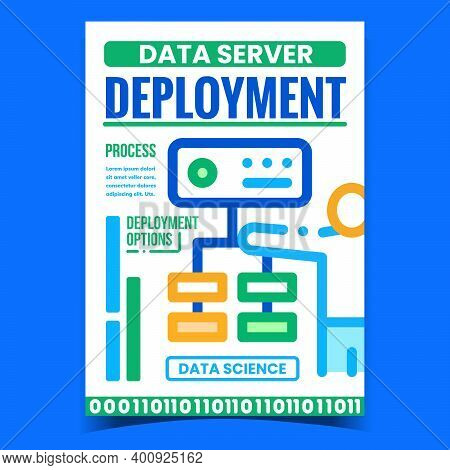 Data Server Deployment Promotion Banner Vector. Networking Process And Deployment Options Advertisin