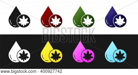 Set Medical Marijuana Or Cannabis Leaf Olive Oil Drop Icon Isolated On Black And White Background. C