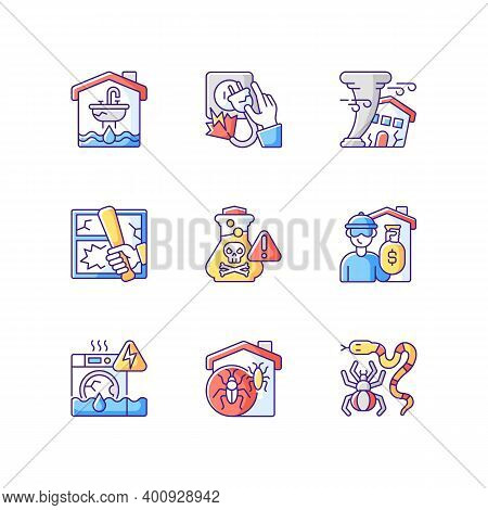 Home Accidents Prevention Rgb Color Icons Set. Water Damage. Electric Shock. Hurricane. Chemical Poi