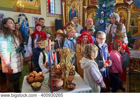 Performance Of Carolers And Nativity Scene, 12.01.2020 Ukraine, Mervychi, Christmas Play Of The Nati