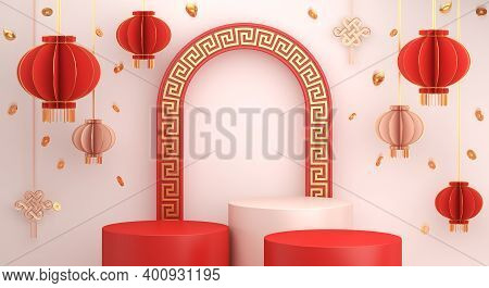 Happy Chinese New Year Or Mid Autumn Festival Podium Display Mockup Background With Lantern Golden C