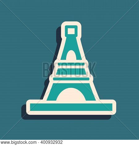 Green Eiffel Tower Icon Isolated On Green Background. France Paris Landmark Symbol. Long Shadow Styl