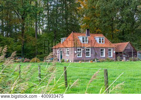 Overijssel, Netherlands - November 3, 2019: Traditional Dutch Foresters House Or Now Hiliday Home At