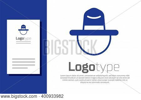 Blue Canadian Ranger Hat Uniform Icon Isolated On White Background. Logo Design Template Element. Ve