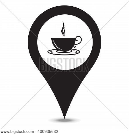 Black Map Pointer With Coffee Cup Inside. Restaurant Marker. A Place To Drink Tea. You Are Here Symb