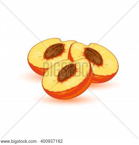 Fresh Appetizing Peaches, Whole And Cut Open. Juicy Sweet Yellow Round Fruit. Summer Snack. Nectarin