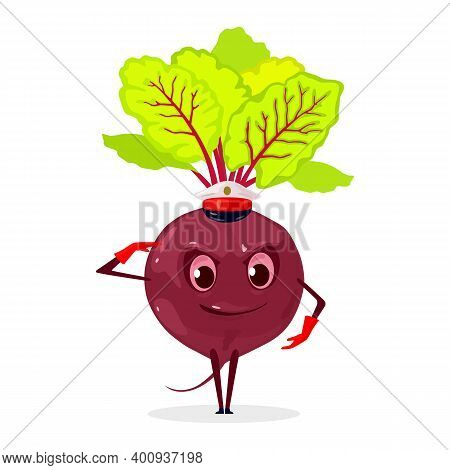 Vitaminized Beet With Greenery, Veggie Creature With Legs, Hands, Eyes And Mouth. Vector Vegetarian