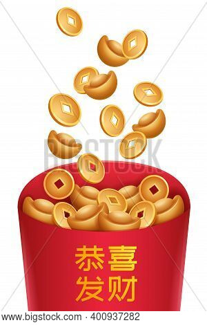 Chinese Golden Ingots, Traditional Money Coin And Red Envelope With Chinese Letter - Good Fortune. S