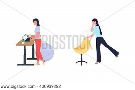 Woman Exercise While Work Flat Color Vector Faceless Character Set. Standing Desk. Healthy Lifestyle