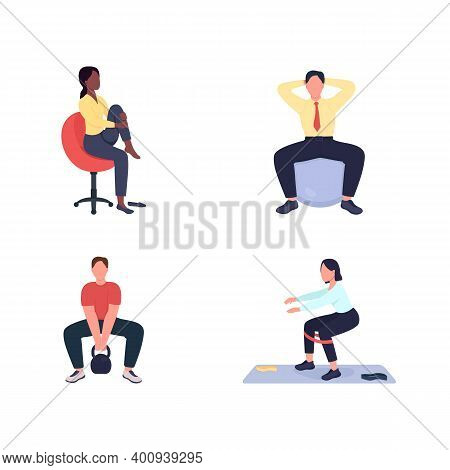 Working Out Female And Male Employees Flat Color Vector Faceless Character Set. Exercise At Workstat