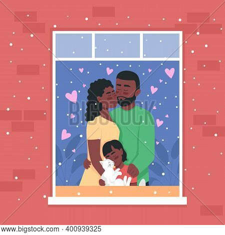 Happy African American Family In Home Window Flat Color Vector Illustration. Spending Winter Holiday
