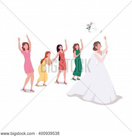 Bride Throwing Bouquet Flat Color Vector Faceless Character. Bridesmaids Cath Flowers. Custom Tradit