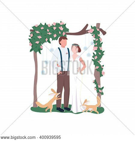 Newly Married Couple Flat Color Vector Faceless Characters. Rustic Floral Decoration. Broom And Brid