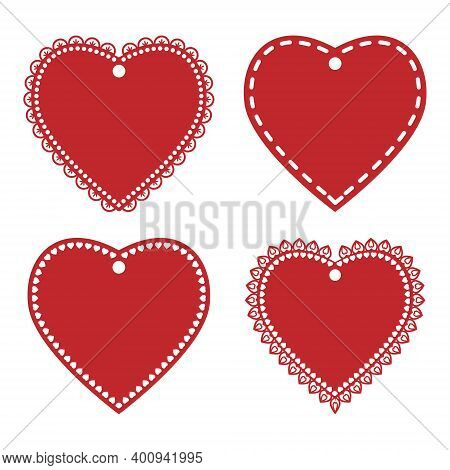Set Of Openwork Labels Of Red Valentines, Templates And Stencils, Color Vector Illustration, Design,