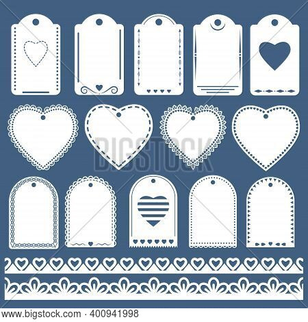Openwork Label Templates Of Different Shapes For Decoration And Decoration Of Gifts, Greeting Card D