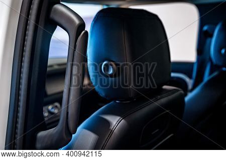 Rostov-on-don, Russia - 7 December 2020: Land Rover Defender Headrest