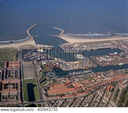 The Hague,Scheveningen, Holland, October 04 - 1986: Historical aerial photo of the first harbour of Scheveningen, entrance and exit to the North Sea
