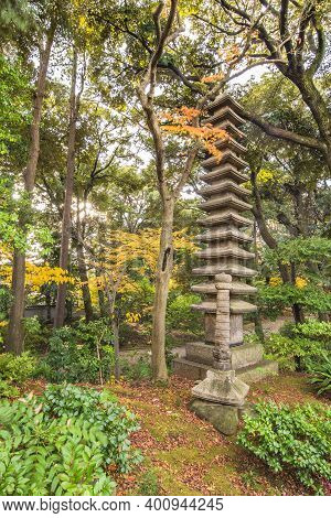 Tokyo, Japan - December 09 2020: Tokyo Metropolitan Park Kyufurukawa Japanese Garden's Ruins Of A Gi