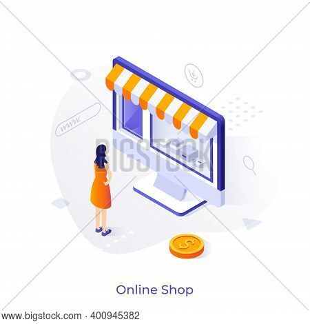 Woman Standing In Front Of Store Window With Awning On Computer Display. Concept Of Online Shopping,