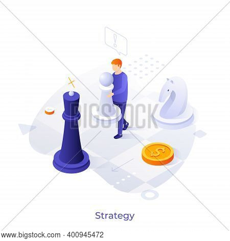 Man Playing Chess With Giant Pieces On Chessboard. Concept Of Business Strategy, Strategic Planning