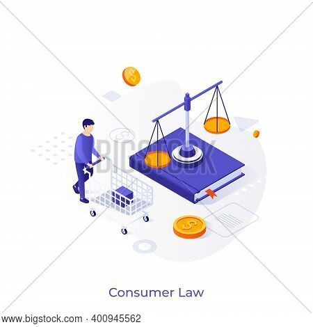 Buyer With Shopping Cart, Book, Scale And Dollar Coins. Concept Of Consumer Law, Legal Or Government