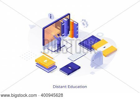 Man Touching Giant Computer Screen And Books. Concept Of Distant Education, Internet Course, Web Lea