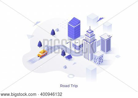 City Buildings Or Skyscrapers And Car Riding Along Street, Highway. Concept Of Road Trip Or Adventur