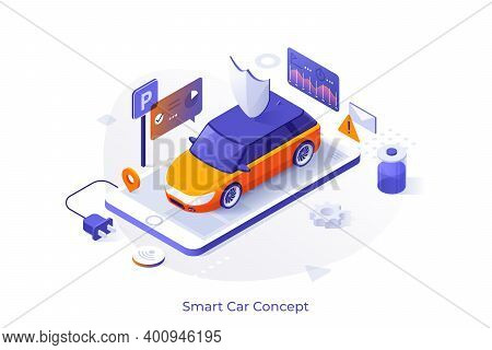 Electric Automobile On Giant Smartphone And Digital Indicators. Concept Of Mobile App For Car Monito