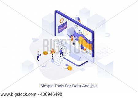 Computer Display And People Ascending Stairs And Analyzing Statistical Information. Concept Of Simpl