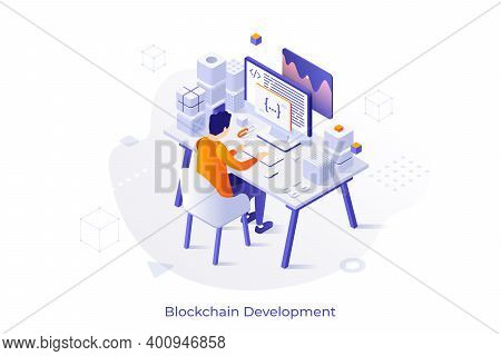 Concept With Programmer Or Coder Sitting At Desk And Working On Computer. Blockchain And Cryptocurre