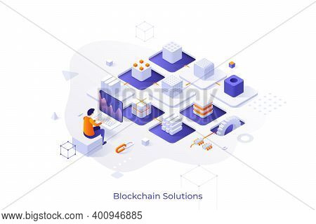 Concept With Cryptocurrency Miner Sitting At Computer And Chain Of Cubic Blocks. Software And Hardwa