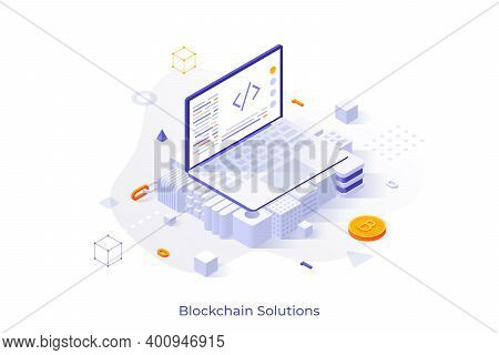 Concept With Laptop Computer On Cubic Blocks And Bitcoin. Equipment And Tools For Cryptocurrency Min