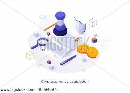 Concept With Document, Gavel, Bitcoins. Cryptocurrency Legislation, Legal Regulation Or Government C