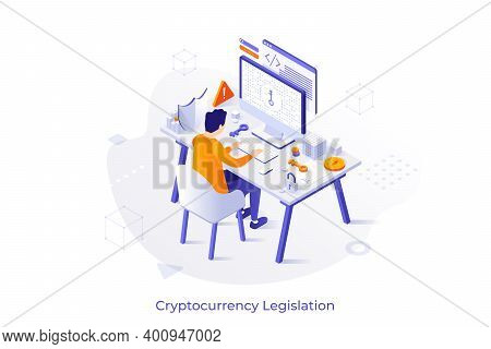 Conceptual Illustration With Man Sitting At Computer And Trying To Get Access To Encrypted Data. Int