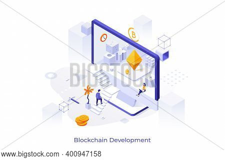 Concept With Man Ascending Stairs And Entering Screen Of Giant Computer. Cryptocurrency Mining Pool
