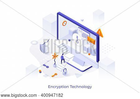 Conceptual Template With Man Ascending Stairs To Enter Computer Screen. Encryption Technology, Acces