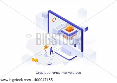 Conceptual Template With Man Ascending Stairs To Enter Computer Display With Buildings And Bitcoin I