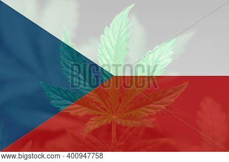 Leaf Of Cannabis Marijuana On The Flag Of Czech. Medical Cannabis In The Czech. Weed Decriminalizati