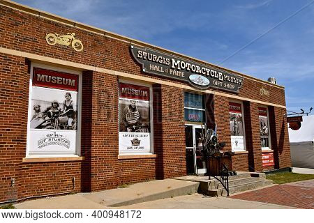 Sturgis, South Dakota, August 16, 2020: The Sturgis Hall Of Fame Museum Located Downtown Is A Touris