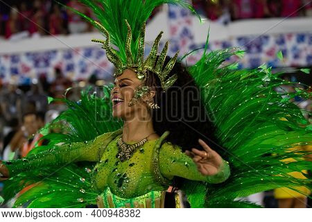 Rio, Brazil - February 22, 2020: Parade Of The Samba School Academicos De Santa Cruz, At The Marques