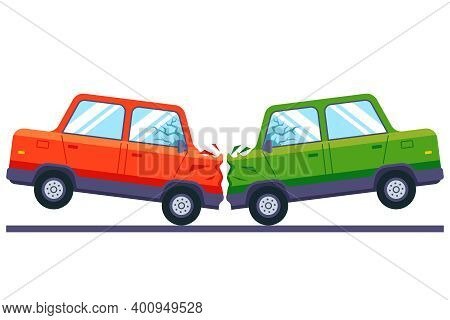Head-on Collision Of Cars On The Track. Insurance In Case Of An Accident On The Road. Flat Vector Il