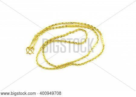 Gold Chain Necklace Isolated On White Background