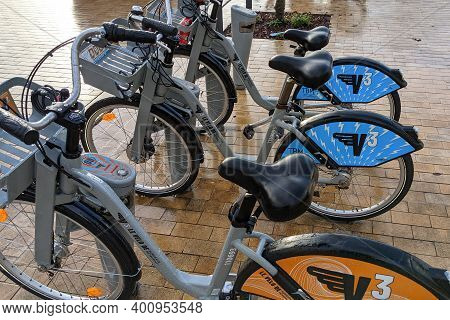 Bordeaux , Aquitaine  France - 12 15 2020 : Urban Town Self Service Bicycle And Rent Bike Access In