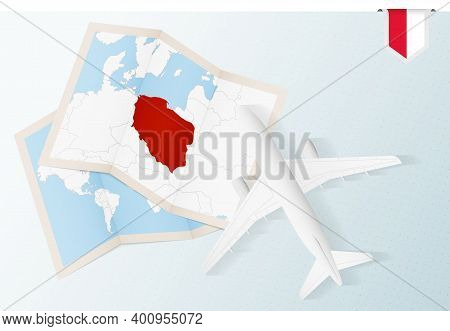 Travel To Poland, Top View Airplane With Map And Flag Of Poland. Travel And Tourism Banner Design.