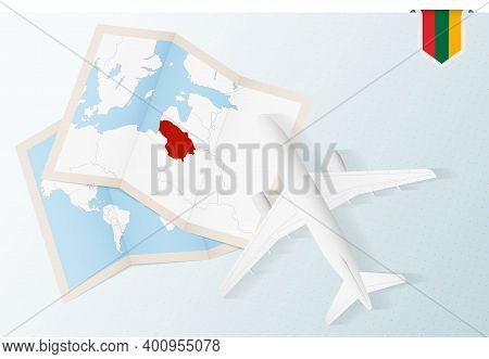 Travel To Lithuania, Top View Airplane With Map And Flag Of Lithuania. Travel And Tourism Banner Des