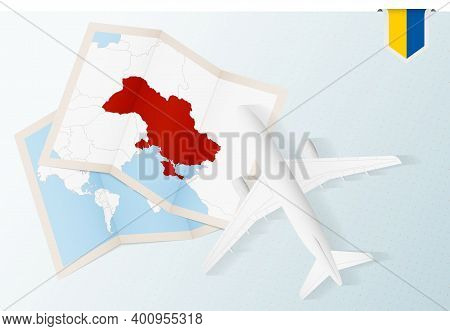 Travel To Ukraine, Top View Airplane With Map And Flag Of Ukraine. Travel And Tourism Banner Design.