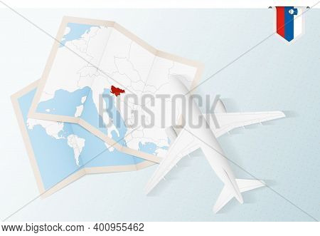 Travel To Slovenia, Top View Airplane With Map And Flag Of Slovenia. Travel And Tourism Banner Desig