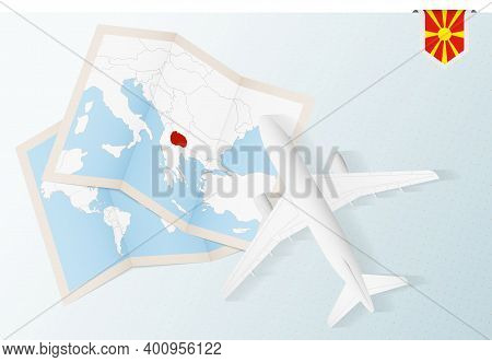 Travel To Macedonia, Top View Airplane With Map And Flag Of Macedonia. Travel And Tourism Banner Des