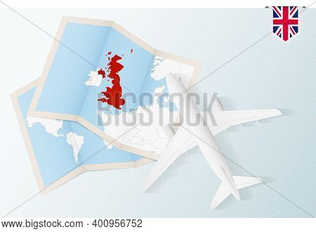 Travel To United Kingdom, Top View Airplane With Map And Flag Of United Kingdom. Travel And Tourism